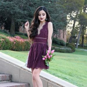 • tobi • burgundy lace mini cocktail dress